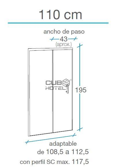 Resguardo Frontal Base Duche COLUMBIA 110 cm, 195 cm alto, 6mm  B-60